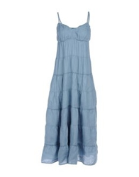120 Lino 120 Lino Long Dresses Pastel Blue