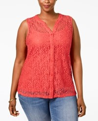 Styleandco. Style And Co. Plus Size Lace Sleeveless Blouse Only At Macy's Dark Rose