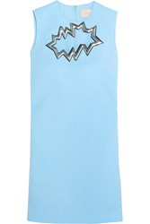 Christopher Kane Metallic Pvc Trimmed Cutout Wool Crepe Mini Dress Sky Blue