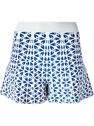 Alexander Mcqueen Embossed Cut Out Floral Shorts Blue