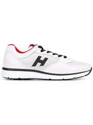 Hogan Perforated Panel Lace Up Sneakers White