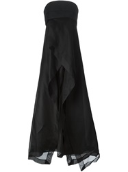 Donna Karan Empire Waist Strapless Evening Gown Black