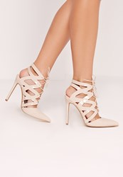 Missguided Cross Strap Lace Up Court Shoes Nude Beige