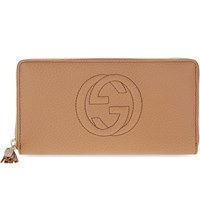 Gucci Soho Grained Leather Long Wallet Camelia Beige