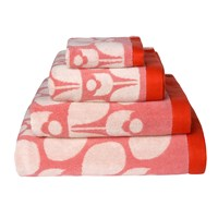 Orla Kiely Wallflower Jacquard Towel Bubblegum Cream Tomato Bath Sheet 147X100cm