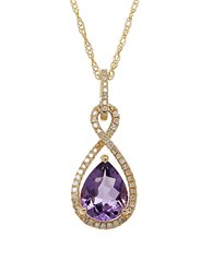 Lord And Taylor Amethyst Diamond 14K Yellow Gold Pendant Necklace Purple