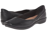 Clarks Haydn Shipper Black Leather Women's Flat Shoes