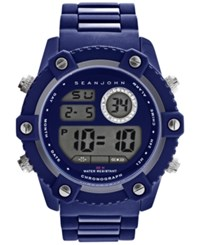 Sean John Men's Digital Blue Silicone Strap Watch 51Mm 10026895