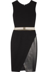 Bailey 44 Mesh And Faux Leather Paneled Stretch Ponte Dress Black