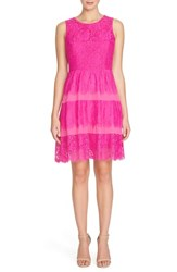 Petite Women's Cece By Cynthia Steffe 'Olivia' Lace Fit And Flare Dress Hot Magenta