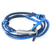 Anchor And Crew Bruce Leather And Silver Bracelet Blue