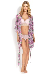Forever 21 Floral Chiffon Robe Pink Purple