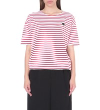 Chocoolate Striped Cotton Jersey T Shirt Red