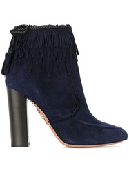 Aquazzura 'Tiger Lily' Ankle Boots Blue