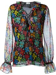 Au Jour Le Jour Semi Sheer Ruffled Tie Up Neck Floral Print Blouse Multicolour