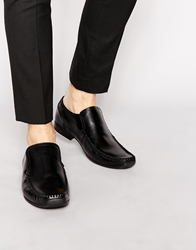 Base London Slip On Loafer In Leather Black