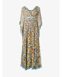 Dolce And Gabbana Maiolica Print Kaftan Silk Dress White Multi Coloured