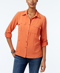 Ny Collection Petite Crinkled Utility Shirt Autumn Glaze