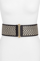 Vince Camuto Woven Stretch Belt Black Pol Gold