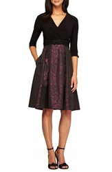 Alex Evenings Women's Mixed Media Fit And Flare Dress