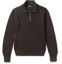 Tom Ford Ribbed Wool Half Zip Sweater Chocolate
