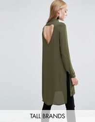 Vero Moda Tall Shirt Dress With Slits And Keyhole Back Ivy Green