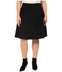 Calvin Klein Plus Size Skirt W Ribbed Stripe Black Women's Skirt