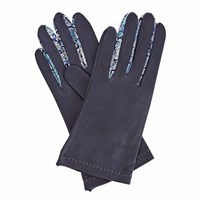 Gizelle Renee Philomena Womens Navy Leather Gloves With Bc Liberty Tana Lawn Blue