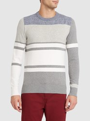 Diesel Grey And White Acies Striped Fine Knit Round Neck Sweater