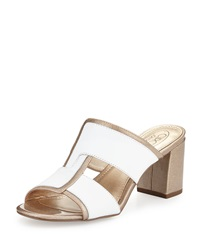 Circa Joan And David Kirby Two Tone Slide Sandal White Light Gold