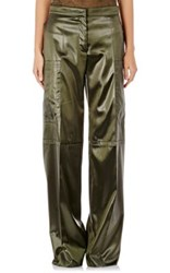 Nina Ricci Women's Bonded Satin Wide Leg Trousers Green Size 4 Us