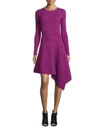 Cushnie Et Ochs Knit Long Sleeve Dress W Asymmetric Hem Orchid