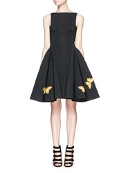 Chictopia Butterfly Embroidery Scuba Jersey Flare Dress