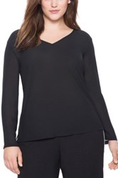 Eloquii Back Cutout V Neck Blouse Plus Size Black