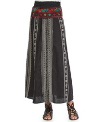 Johnny Was Femme Linen Maxi Skirt Black