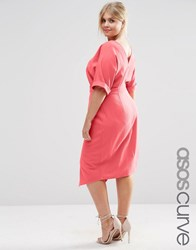 Asos Curve Plain Wiggle Cut Out Back Dress Spiced Coral Pink