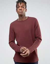 Selected Homme Crew Neck Sweat With Curved Hem Burgundy Red