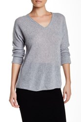Velvet By Graham And Spencer Dillane Sheer V Neck Cashmere Sweater Gray