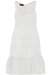 Rochas Ruched Organza Boucle Dress White