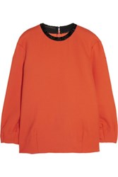 Mother Of Pearl Embellished Wool Twill Top Tomato Red