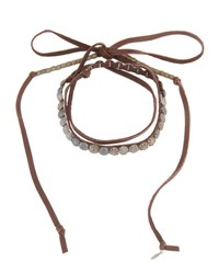 Love Heals Wraparound Beaded Leather Choker Brown