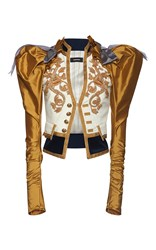 Dsquared2 Heraldic Embroidery Puff Sleeve Jacket White Gold Grey