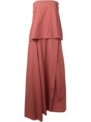 Hache Long Overlay Strapless Dress Brown
