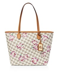 Lauren Ralph Lauren Ashley Tote Natural With Orchid Print