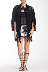 Anna Sui Honeycomb Lattice Lace Kimono Black