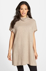 Eileen Fisher Short Sleeve Cashmere Turtleneck Tunic Regular And Petite Almond