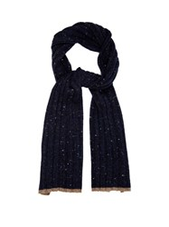 Brunello Cucinelli Flecked Wool And Cashmere Blend Scarf Navy