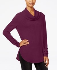 Ultra Flirt Juniors' Cowl Neck Waffle Knit Tunic Burgundy