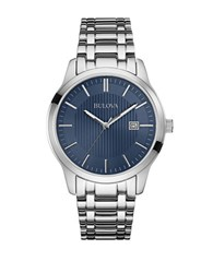 Bulova Stainless Steel Analog Watch Silver