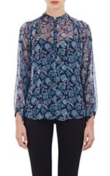 Barneys New York Paisley Print Peasant Blouse Blue Size 38 It